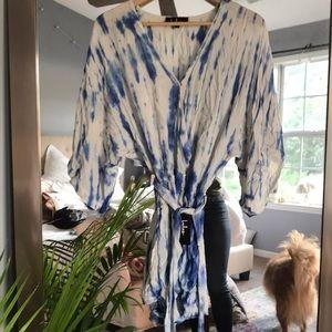 Blue tie-dye romper from Lulus